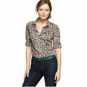 JCrew Leopard print Button Up